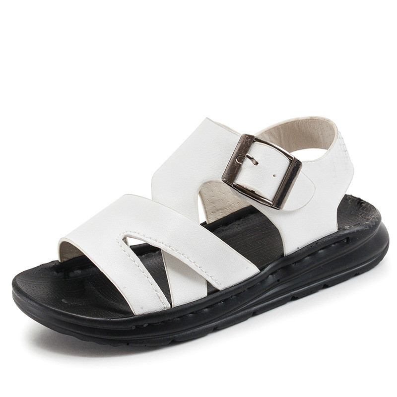 Kids White Sandals Boys Black Sandals PU Leather Soft Sole Flat Open Toe 2018 Fashion Trends Casual Summer Shoes Size 26-36