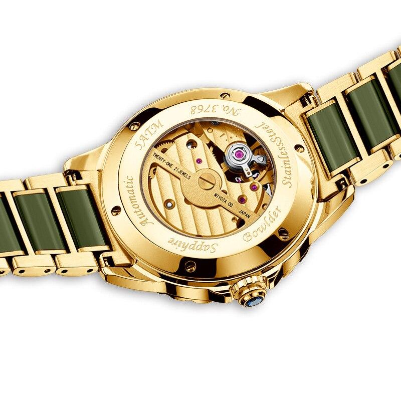 Top szmaragd Jade automatyczny męski zegarek mechaniczny Sapphire spiralne świetliste dłonie kalendarz mężczyźni zegarki na rękę szwajcaria marka w Zegarki mechaniczne od Zegarki na  Grupa 3