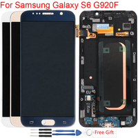 For Samsung Galaxy S6 LCD Screen With Frame LCD S6 G920F SM G920F Touch Screen Display Assembly Original S6 Super AMOLED