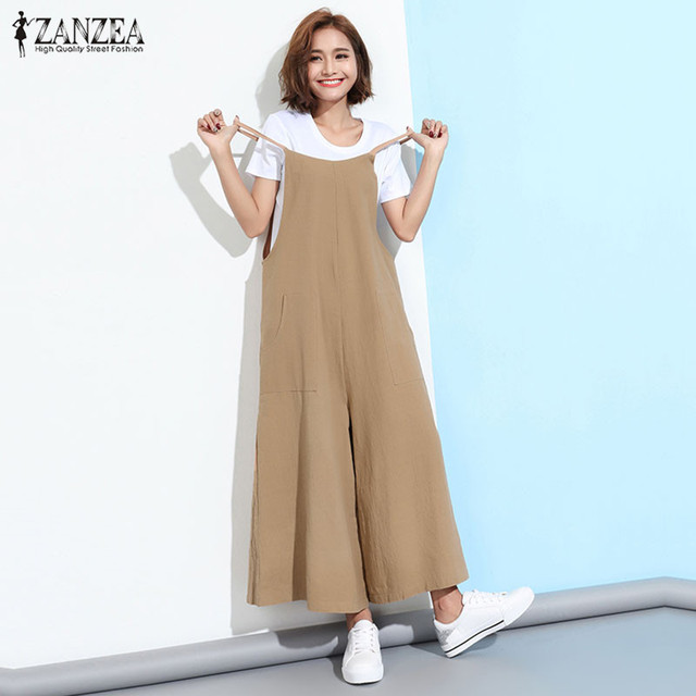 0b2e7d740c10 ZANZEA 2018 Summer Rompers Womens Jumpsuit Casual Loose Strapless Overalls  Pockets Playsuits Solid Wide Leg Pants
