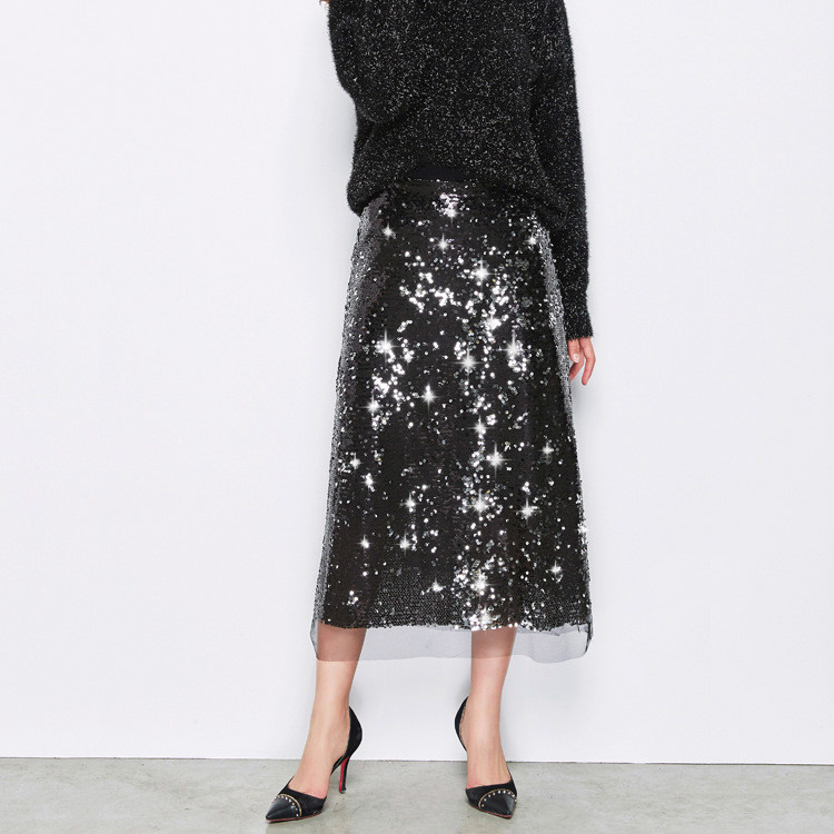 2018 spring new fashion sexy a word skirt mesh yarn sequined skirts in autumn and winter ladies long section