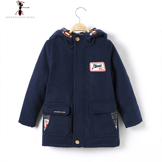 2016 Hooded Wool Coat for Boys Fashion  Qiacca Bambino Inverno Woolen Hot Sales Kids Warm Winter Jacket 1637