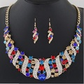 Fashion Gem Spiral Flash Crystal Necklace Earrings Jewelry Sets Bridal Jewelry Sets Crystal Statement Necklaces Earring
