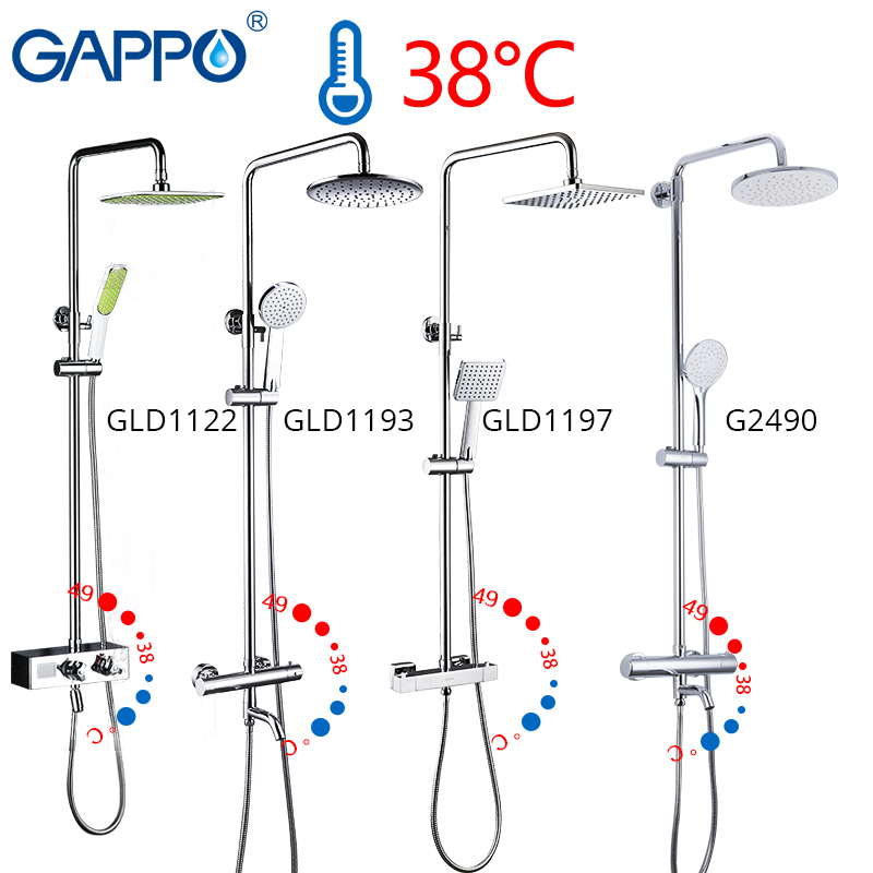 GAPPO thermostatic shower faucet chrome color bathroom bath shower mixer set waterfall rain shower head bathtub