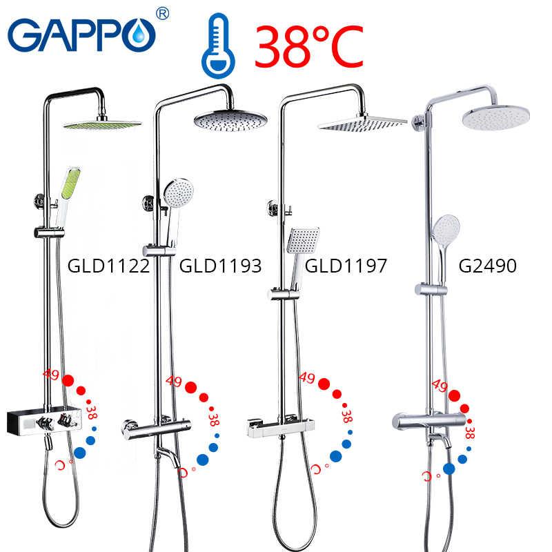 Gappo Thermostatic Shower Faucet Chrome Warna Kamar Mandi Mandi Shower Mixer Set Air Terjun Hujan Shower Kepala Kran Bak Mandi Keran