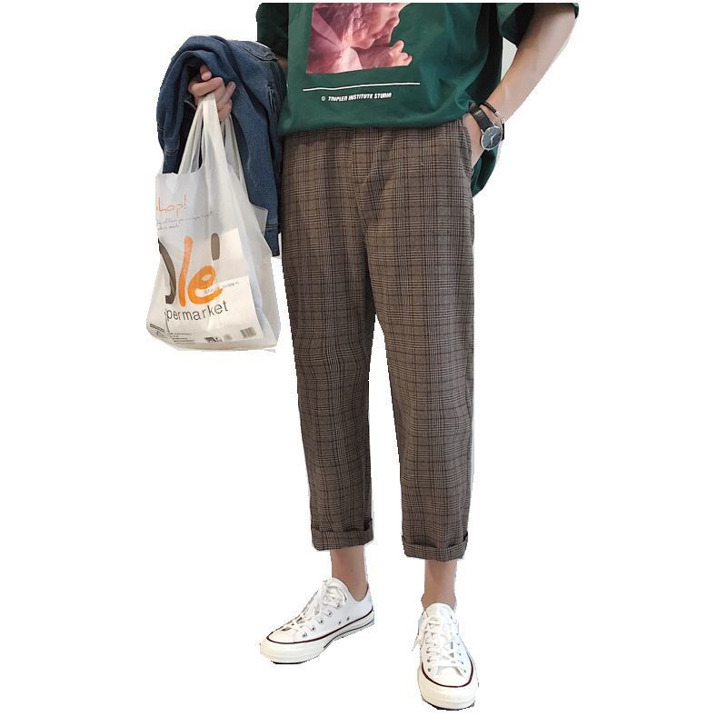 2018 Korean Style Mens New Popular Youth Plaid Casual Pants Fashion Trend Loose Brown/Gray Color All-match Trousers M-3XL