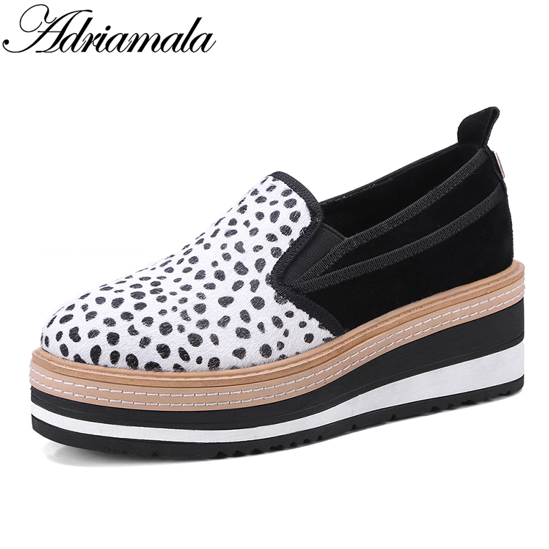 2018 Horsehair Genuine Leather Women Loafers Platform Shoes Mixed Colors Slip-on Round Toe Casual Flat Platform Shoes Adriamala nayiduyun women genuine leather wedge high heel pumps platform creepers round toe slip on casual shoes boots wedge sneakers