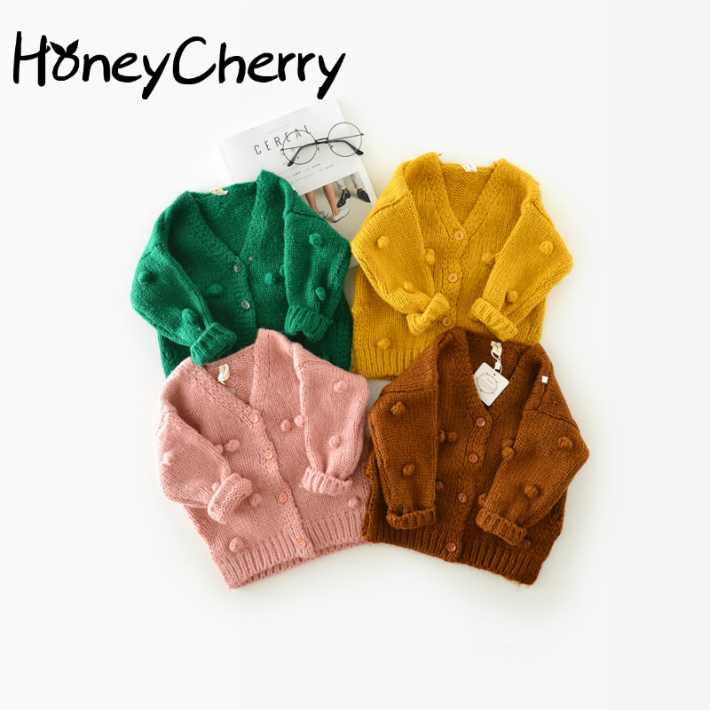 1-3 Years Old Baby Girl Sweater Child 17 Winter Ball In Hand Down Sweater Cardigan Jacket Cardigan For Girl Girls Cardigan