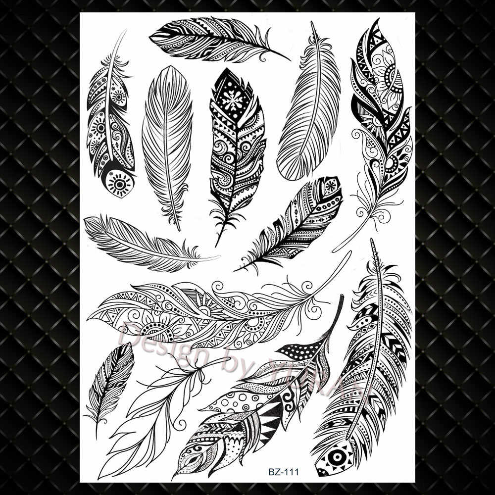 Water Transfer Women Black Chest Feather Tattoos Stickers