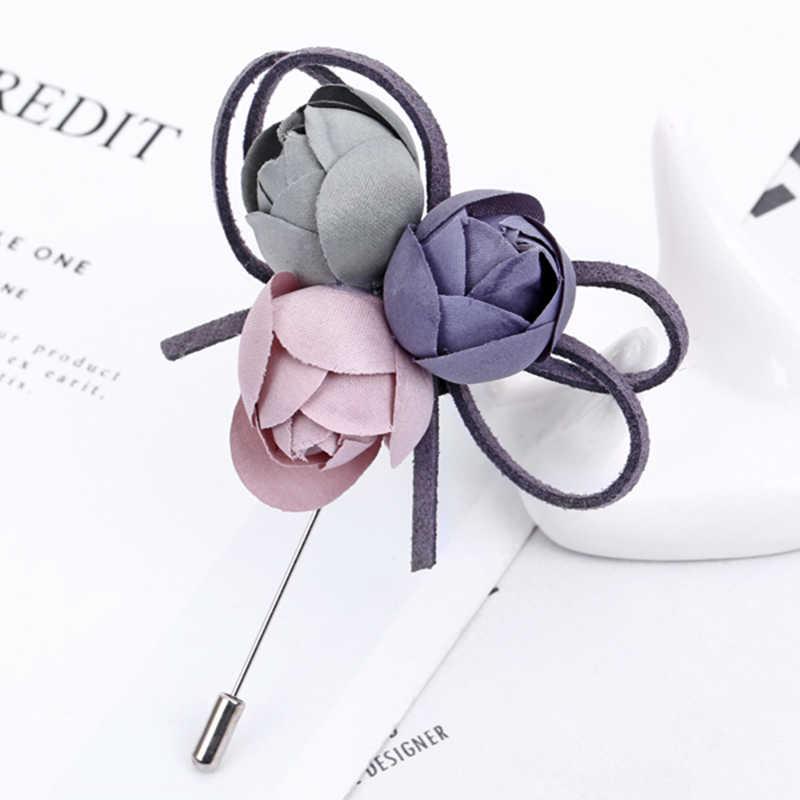 YAOLOGE 布カラフルな花のブローチ小さなかわいい植物ブローチピンセーターコートアクセサリーファッションジュエリーギフト新