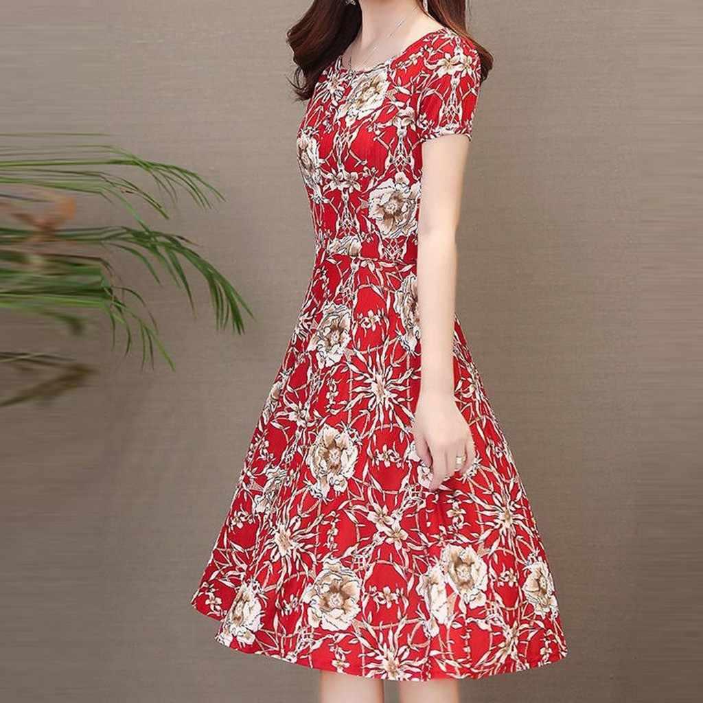 女性 A ラインエレガントなドレス印刷半袖 O ネック膝丈のドレスカジュアルボディコン女性ビーチドレス Vestido プラスサイズ