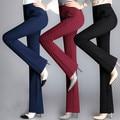 New Fashion high quality women pants wide leg flare pants women slim straight trousers Red/Black pants