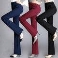 Nova moda de alta qualidade calças das mulheres perna larga calças flare mulheres calças retas magros vermelho/preto calças