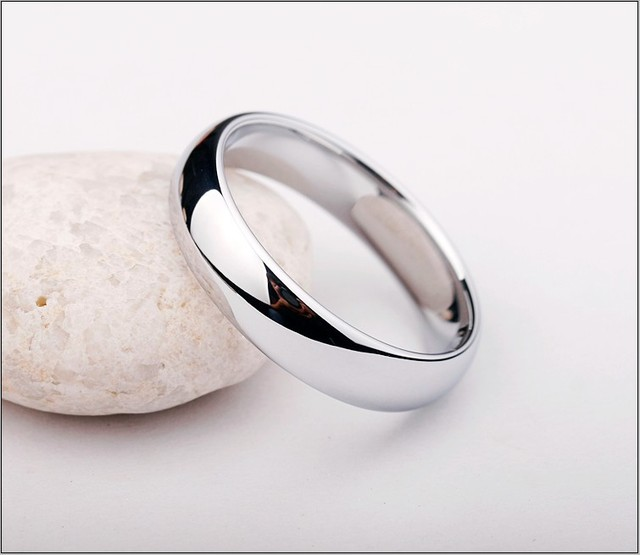 Non Tramonterà mai Shiny Silver Bianco Anelli di Tungsteno Dome Band 3.5mm e 5mm di Larghezza per Le Coppie di Trasporto Incisione e spedizione Gratuita