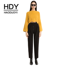 HDY Haoduoyi Women Solid Flare Sleeve Asymmetrical Hem Sweater Midriff Sweet Casual Loose Brief Knitted Autumn Pullovers