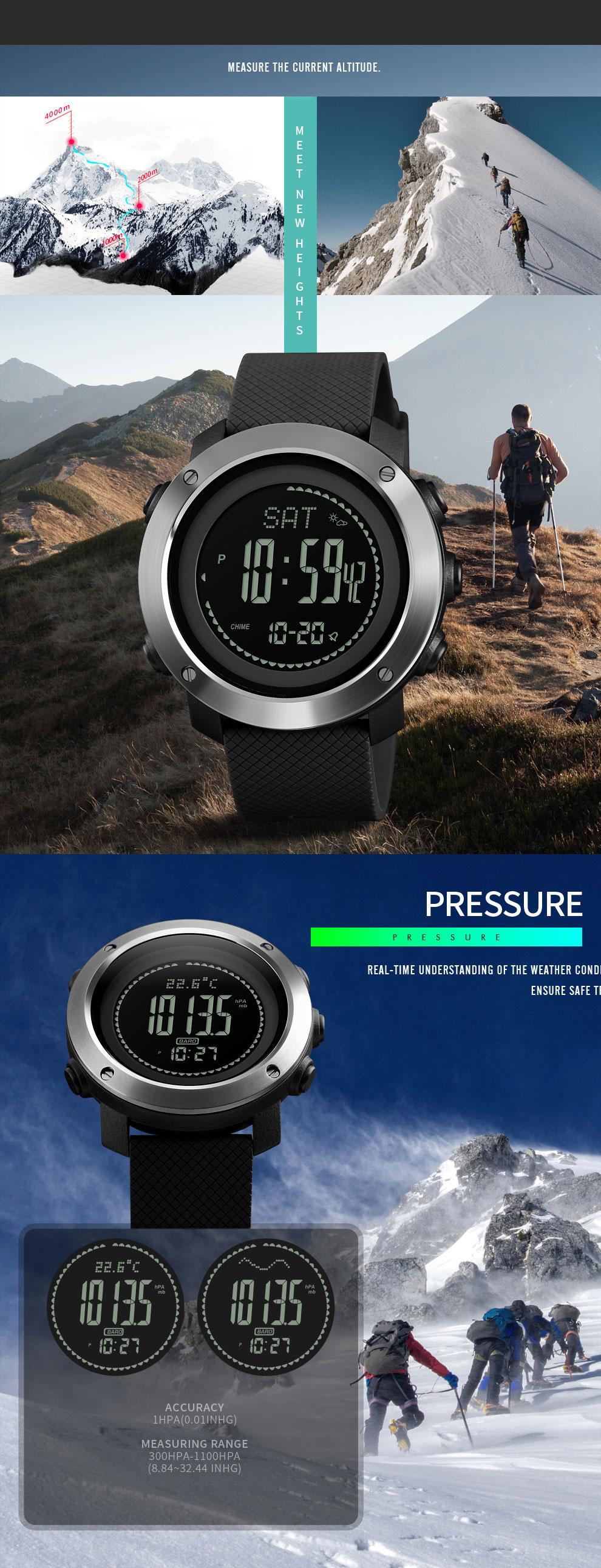 SKMEI Altimeter Barometer Thermometer Altitude Men Digital Watches Sports Clock Climbing Hiking Wristwatch Montre Homme 1418 8