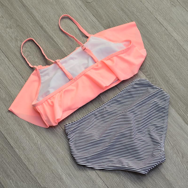 High Waist Swimwear Women New 2017 Ruffle Vintage Bikinis Swimsuit Bandage Striped Bottom Bathing Suits Swim Suit Biquini Female (2)