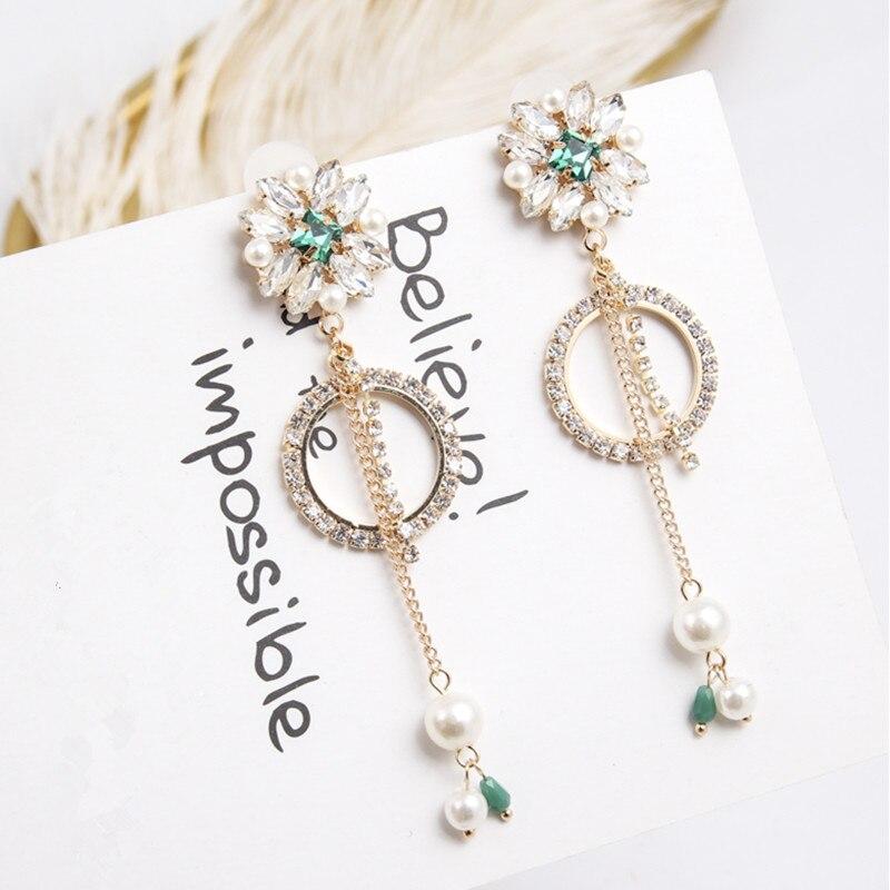 Elegante Cristal Rhinestone gota de perla largos colgantes pendientes de las mujeres de joyería de moda