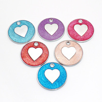 Wholesale 100Pcs Round Pet Tag Dog Tags Custom Engraving Personalised ID Tag For Dog Collar Charm Love Pet Tags Pet decor Shop