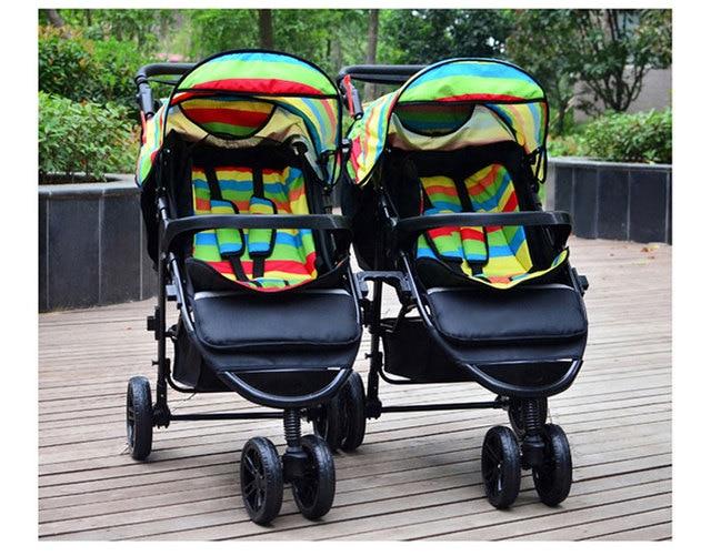 Gratis shippingRainbow Draagbare Opvouwbare Tweeling Kinderwagen Lichtgewicht Pram Twee Baby Dubbele Wandelwagen Winkelwagen Kinderwagen Demonteren 0 ~ 3 Y 1