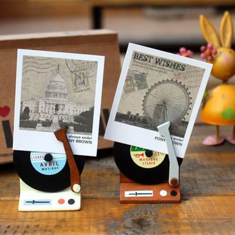 Korea Vintage Cute Phonograph Wooden Memo Card Holder Paper Gift Clips For Message Decoration Photo Office Supplies Accessorie Discounts Price Card Holder & Note Holder Desk Accessories & Organizer