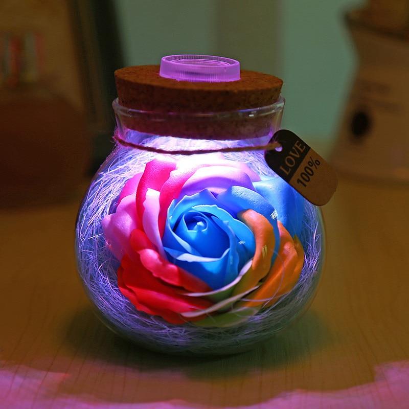 Romantic 3D Luminous Rose Flower Bottle Lamp Glass Bottle Night Light LED Tabel Lamp for Valentine's Day Girls Birthday Gift New