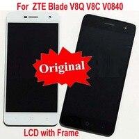 100% Testado Trabalho Sensor de Vidro Original LCD Screen Display Toque Digitador Assembléia com quadro Para ZTE Lâmina V8Q V8C V0840