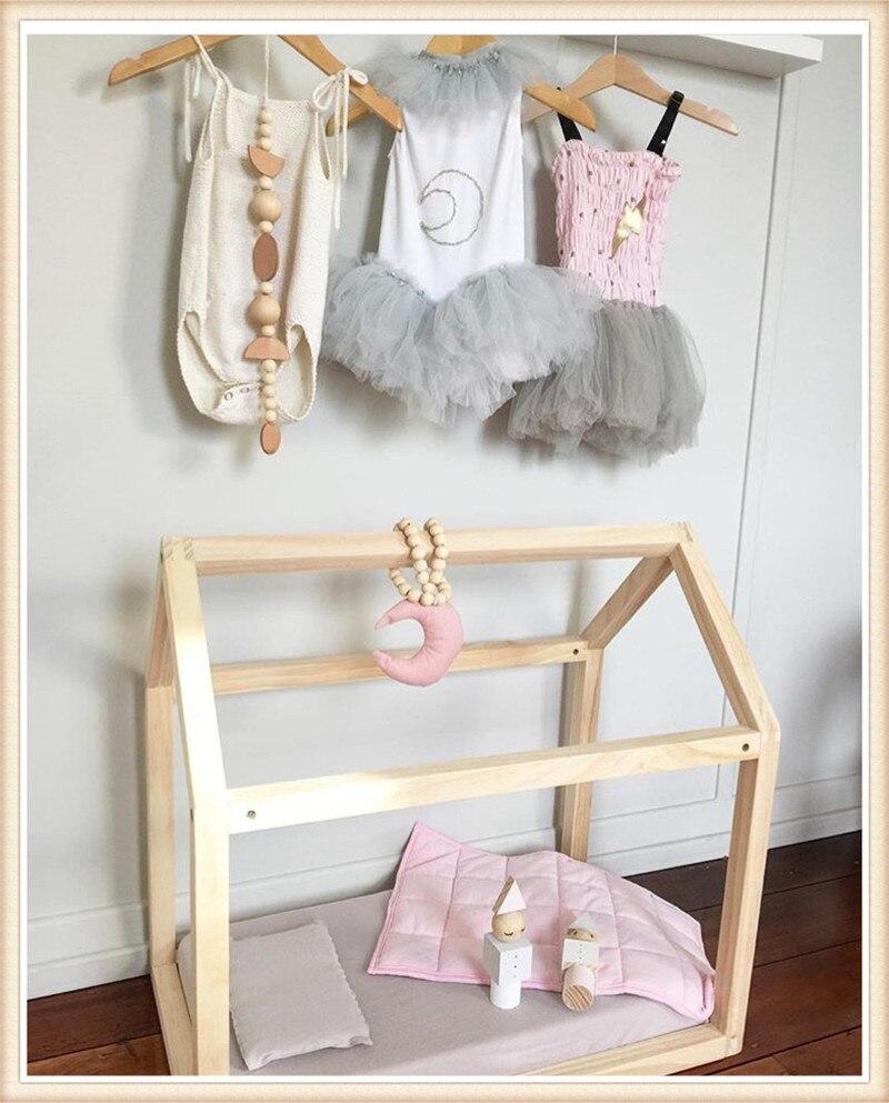 Zelt Bett ins nordischen stil holz perlen string mit stoff mond anhänger