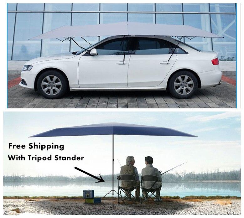 Livraison gratuite parapluie de voiture automatique abri de soleil tente de voiture extérieure avec télécommande et trépied-stand extérieur