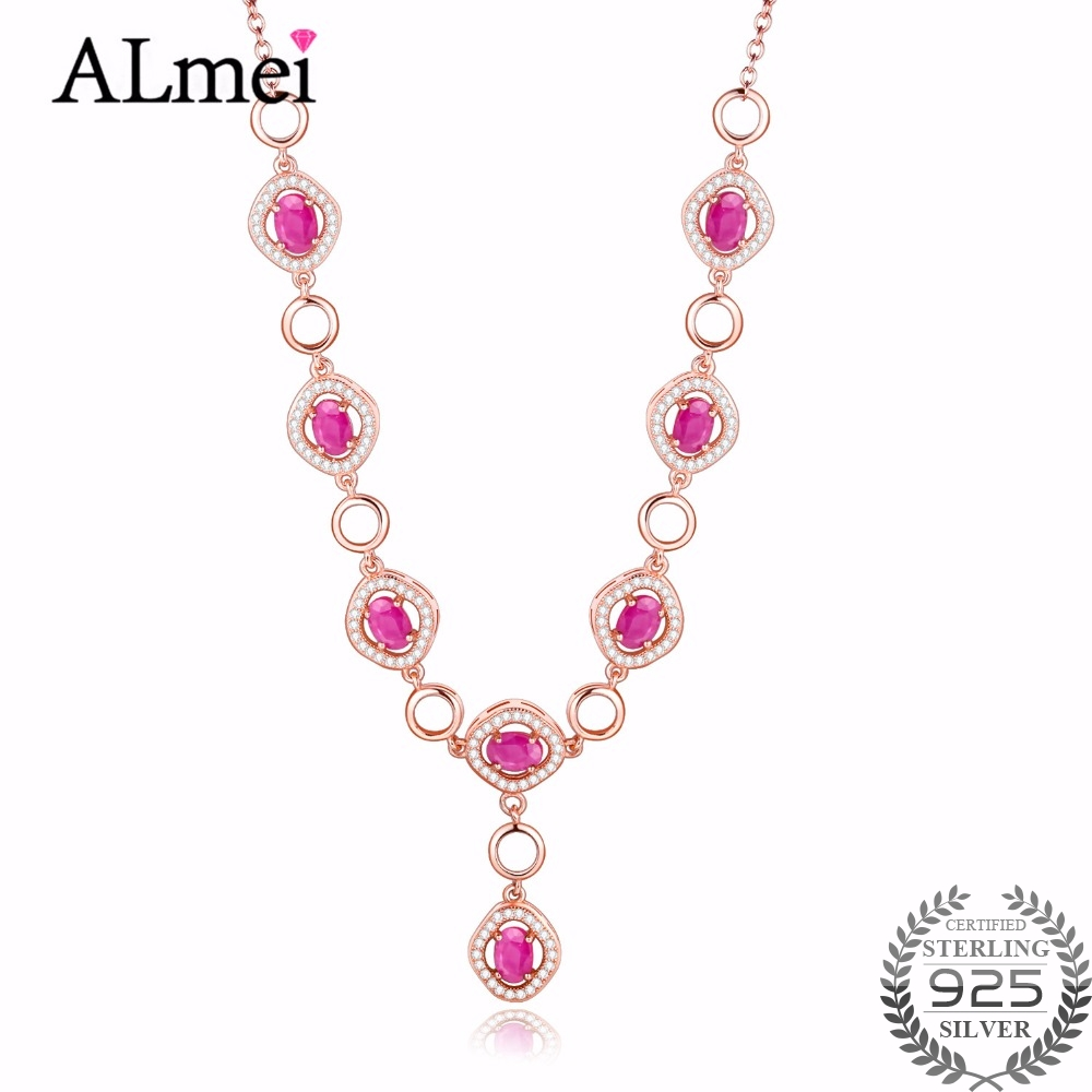 Almei Women 8pcs Red Ruby Womens Necklace Crystal Jewelry Gifts Silver 925 Rose Gold Color Chain Jewelry Gift Free Box 40%FN025Almei Women 8pcs Red Ruby Womens Necklace Crystal Jewelry Gifts Silver 925 Rose Gold Color Chain Jewelry Gift Free Box 40%FN025