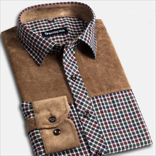 Spring Autumn new men's casual cotton red plaid shirt middle-aged checkered patchwork long-sleeved shirts male large size S-4XL