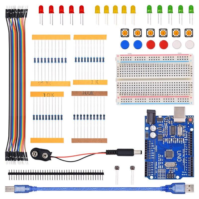 Trasporto Libero 1 set nuovo Starter Kit UNO R3 mini Breadboard pulsante ponticello LED per Arduino compatile