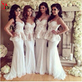 Lace White Bridesmaid Dress with Peplum Beading Stunning Sweetheart Mermaid Party Dress Maid of honor Gown
