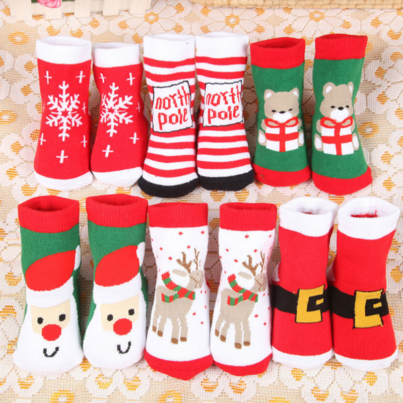 Christmas Themed Children Pure Cotton Cartoon Jacquard Socks Autumn Winter Kids Baby Absorb Sweat Permeability Unisex Socks