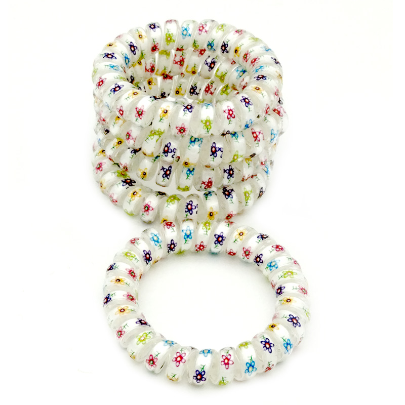 Lots 5 Pcs Size 5.5 CM Small Flower Hair Bands Elastic Rubber Telephone Wire Hair Ties & Plastic Rope Hair Accessory 5 pcs leaf hair accessory