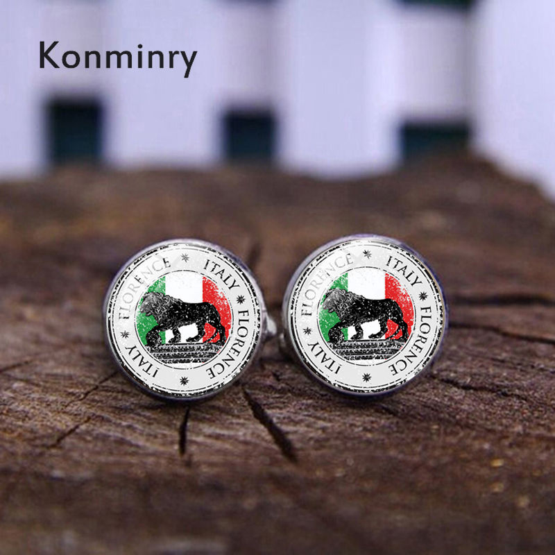 Konminry Florence Sign Cufflinks Glass Cabochon Italy Nation Flag Design Men Shirt Suit French Cuffs Jewelry Wedding Gifts