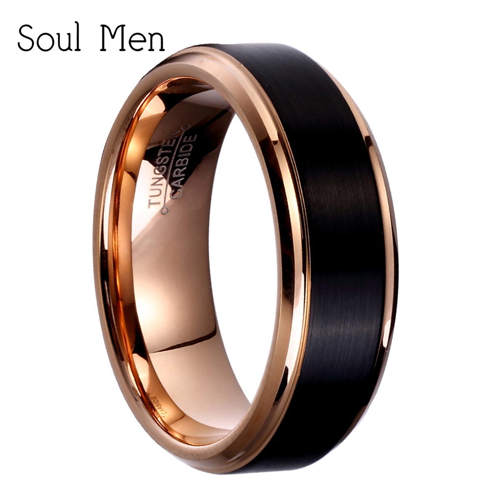 8mm / 6mm / 4mm Black & Rose Gold Mænds Wolfram Carbide Wedding Band til Boy og Girl Valentine Ringe Russian Women Cool Smykker