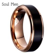 Anelli in carburo di tungsteno da uomo in oro rosa e nero di tendenza 2020 per donna fedi nuziali per ragazzo ragazza moda coppia gioielli 8mm/6mm/4mm
