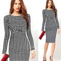Primavera novas chegadas 2017 mulheres vestidos xadrez costura pacote magro hip longo-sleeved dress fina dress
