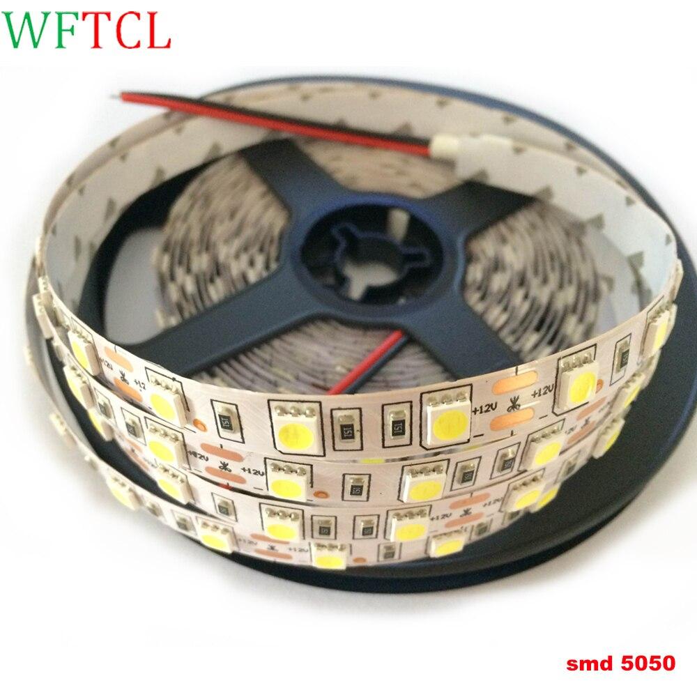 tiras led LED Strip non waterproof 5050 DC12V 5M 60LEDs/m Flexible LED Light Ribbon Tape Home Decoration Lamp RGB 5050 LED Strip