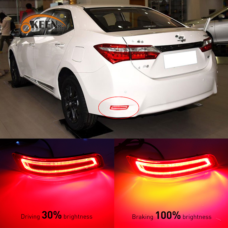 OKEEN For Toyota Corolla 2014 to 2016 Multi-function Car LED Rear Fog Lamp Bumper Light Brake Light Turn Signal Light Reflector