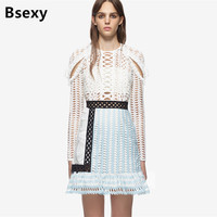 Self Portrait Dress 2017 Autumn Runway White Hit Blue Color Cutout Lace Dress Fashion Ruffle Long