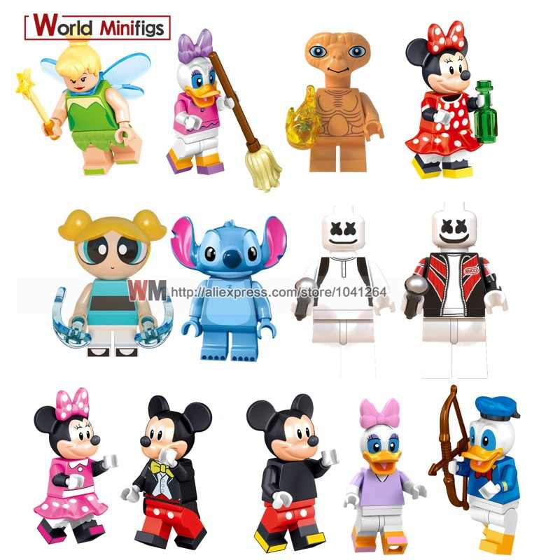 Pato Donald Marshmellow ET Estrangeiro Bolhas Único Toy Story Buzz Lightyear Minnie Mouse Ponto Stay Puft Building Blocks Toy Presentes