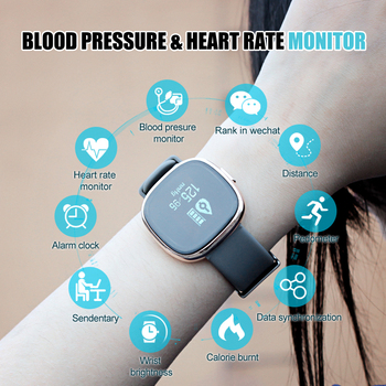 Exquisite Design IP67 Intelligent Blood Pressure Heart rate Bracelet with 24 hours heart rate data and heart rate alert