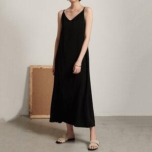 Image 3 - EAM robe longue à caractère féminin, nouveauté printemps/été, col en v, sans manches, Bandage croisé, dos nu, ample, à la mode, JW174