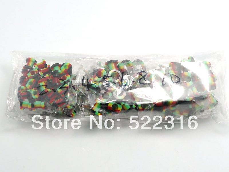 JEWEL 2015 rasta design ear plug acrylic screw fit ear gauges mix size lots wholesale body piercing jewelry free shipping