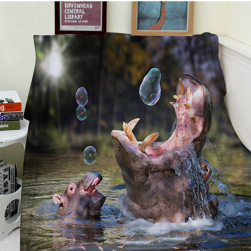 Blankets Comfort Warmth Soft Cozy Air conditioning Easy Care Machine Wash Funny Hippos and BubblesBlankets Comfort Warmth Soft Cozy Air conditioning Easy Care Machine Wash Funny Hippos and Bubbles