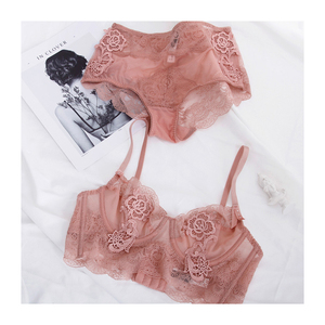 Image 5 - Floral embroidery sexy lingerie lace female intimates ultrathin cup women fashion bra set transparent bras tall waist panties