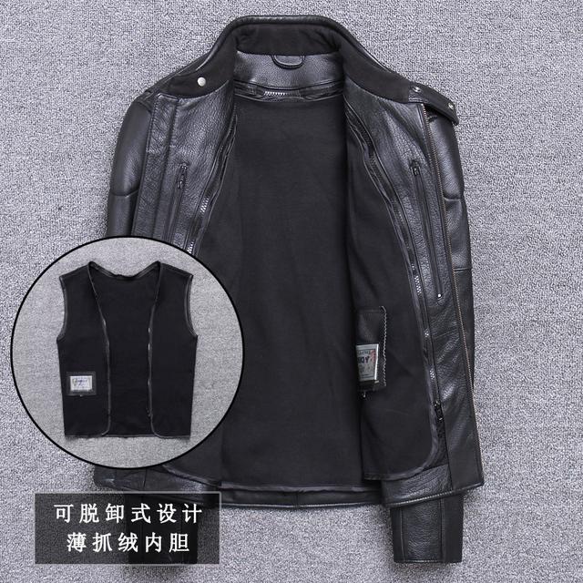 Men's Thick Cow Leather Jacket Brand Designer Genuine Leather Classic Bomber Jacket Vintage Warm Motorcycle Biker Black Coat
