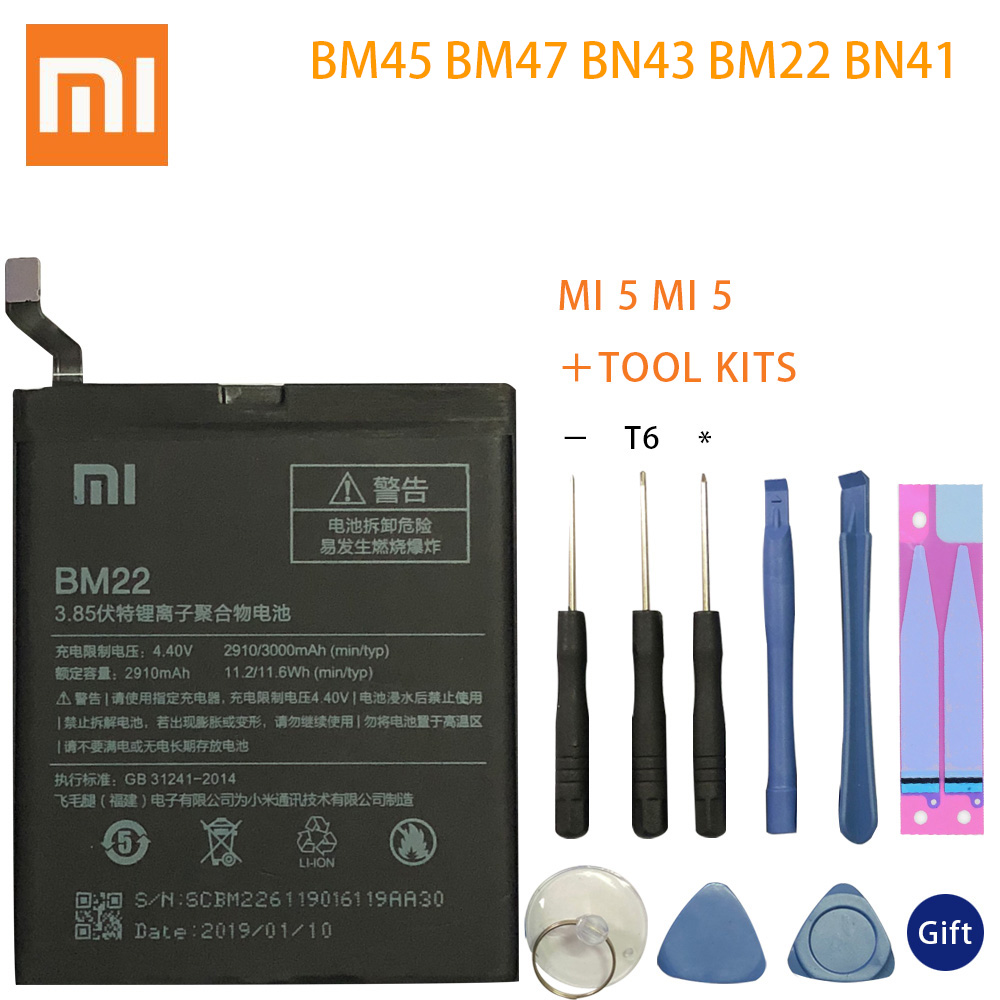 BM45 BM47 BN43 BM22 BN41 <font><b>Battery</b></font> For Xiaomi Redmi 3 3S 3X 4 Note 2 Note 4 Note <font><b>4X</b></font> Original <font><b>Battery</b></font> For Xiaomi <font><b>MI</b></font> 5 <font><b>Batteries</b></font> image